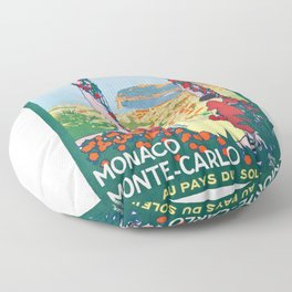1920 Monaco Monte Carlo In The Land Of Sun Poster Floor Pillow
