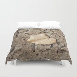 Letters and Leaf Duvet Cover