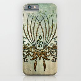 Clef with decorative floral elements iPhone Case