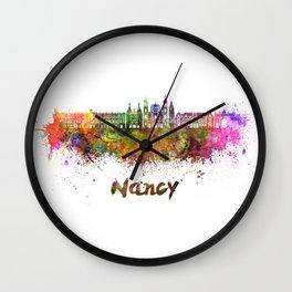 Nancy skyline in watercolor Wall Clock