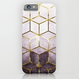 Elegant Geometric Purple Cubes with Gold Lining iPhone Case