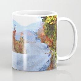 Autumn Road to Coniston, Lake District UK Watercolour Painting Coffee Mug