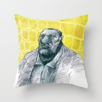 gangster Throw Pillows featuring real gangster by jenapaul