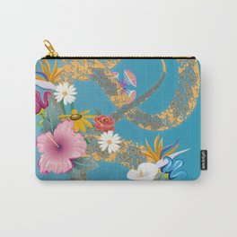 golden snake with flowers Carry-All Pouch