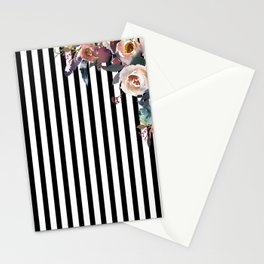 Boho Flowers and Stripes Stationery Cards