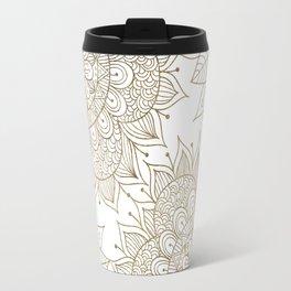 Elegant faux gold white spiritual floral mandala Travel Mug