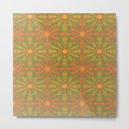 Sunshine, Rustic Pattern, Orange Yellow Metal Print
