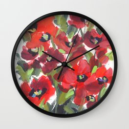 Wild Red Poppies Wall Clock