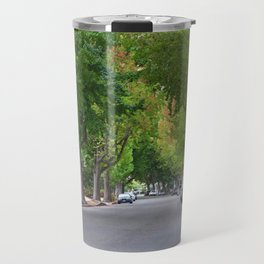 Old Tree Lined Neighborhood end of Summer Travel Mug