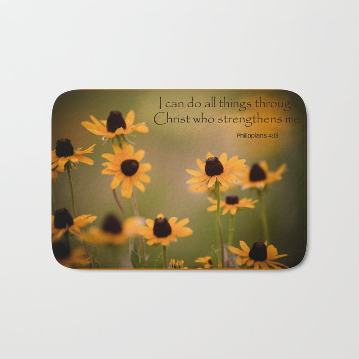 Sunflower Philippians 4:13 Bath Mat