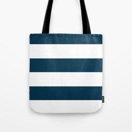 Navy Ocean Cabana Stripes Tote Bag