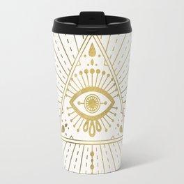 All-Seeing Eye Mandala – Gold Palette Travel Mug