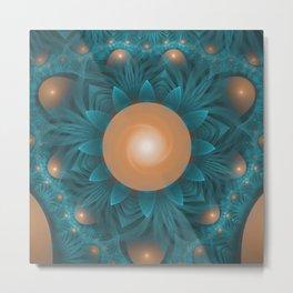 Beautiful Aqua & Orange Sunflower Fractal Bloom Metal Print