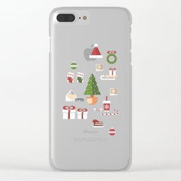 Christmas objects drawings on green bacgkround Clear iPhone Case