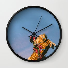 Cowboy on Horse Neon Sign Wall Clock