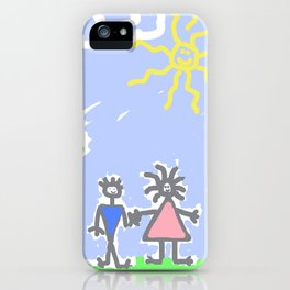 child's drawing with happy family iPhone Case