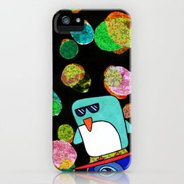 space surfing penguin iPhone Case