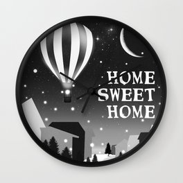 Hot Air Balloon Home Sweet Home snowy little town night stars and moon home decor Christmas spirit Wall Clock