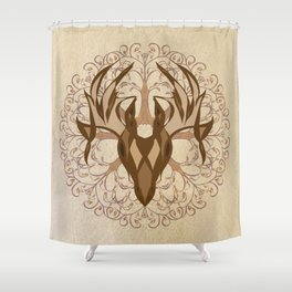 Fall Deer and Tree Shower Curtain