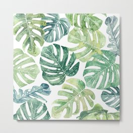 Tropical leaves Monstera leaves Jungle leaves Palm leaves Metal Print
