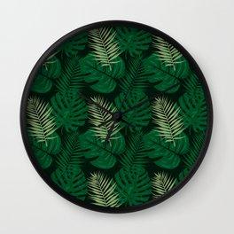 Tropical Leaves Green Wall Clock