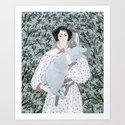 Girl and rabbit among flowers by yuliyart