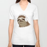 sloths V-neck T-shirts featuring What is a sloths favourite music? by laurxy