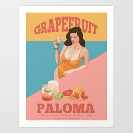 Grapefruit Paloma Art Print