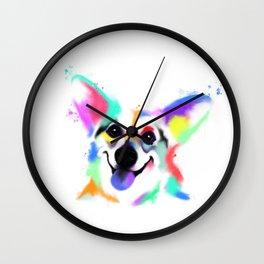 Rainbow Corgi Wall Clock