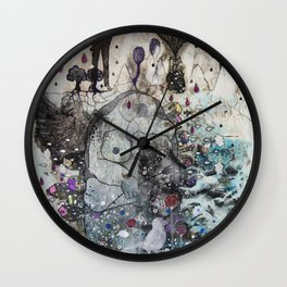 """A woman with a flower""  Illustrated print. Wall Clock"