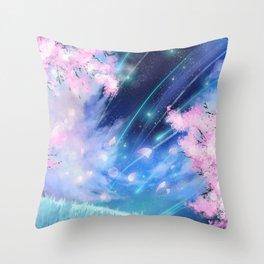Fantasy cherry blossom anime galaxy Throw Pillow