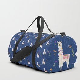 Llama on Blue Duffle Bag