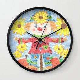 Fall scarecrow Wall Clock