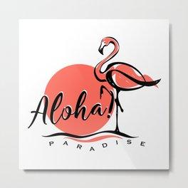 Aloha typography pink flamingo Metal Print