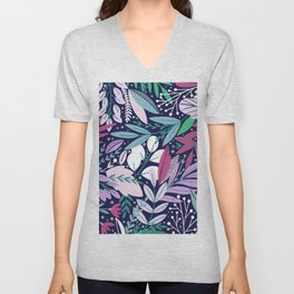 Modern abstract navy blue pink  lavender floral illustration Unisex V-Neck