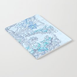 """Alphonse Mucha """"Anemones, Apple Blossoms and Narcissi"""" (edited blue) Notebook"""