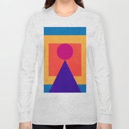 Abstract Christmas Tree Minimal Art Red and Blue Long Sleeve T-shirt