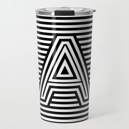 Track - Letter A - Black and White Travel Mug