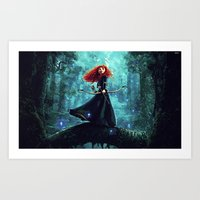 be brave Art Prints featuring Brave by Juniper Vinetree