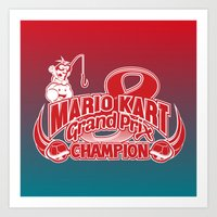 mario kart Art Prints featuring Mario Kart 8 Champion by Kody Christian