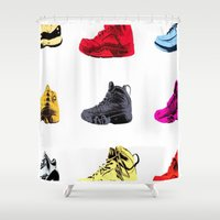 sneakers Shower Curtains featuring Colorful Sneakers by RickART
