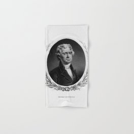 Engraving and anonymous portrait of Thomas Jefferson. Hand & Bath Towel