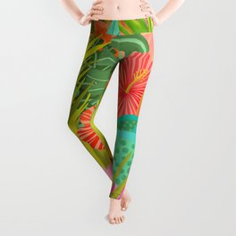 Saturated Tropical Plants and Flowers Leggings