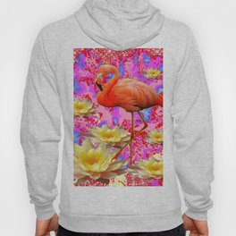 Pink Saffron Flamingo Yellow Water Lilies Deco Art Hoody