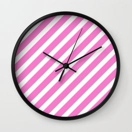 Basic Stripes Pink Wall Clock