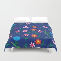 floral pattern Duvet Covers featuring Floral pattern  by luizavictoryaPatterns