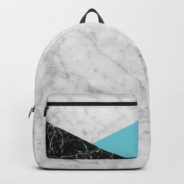 White Marble - Black Granite & Teal #871 Backpack
