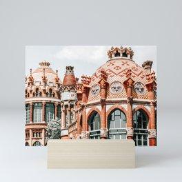 Santa Creu Sant Pau Hospital In Barcelona, Barcelona City Architecture Art, Famous Landmark Modernist Architecture by Lluis Domenech Montaner Mini Art Print