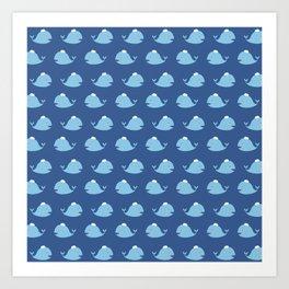 Cute nautical blue teal white funny whale pattern Art Print