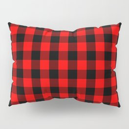 Classic Red and Black Buffalo Check Plaid Tartan Pillow Sham